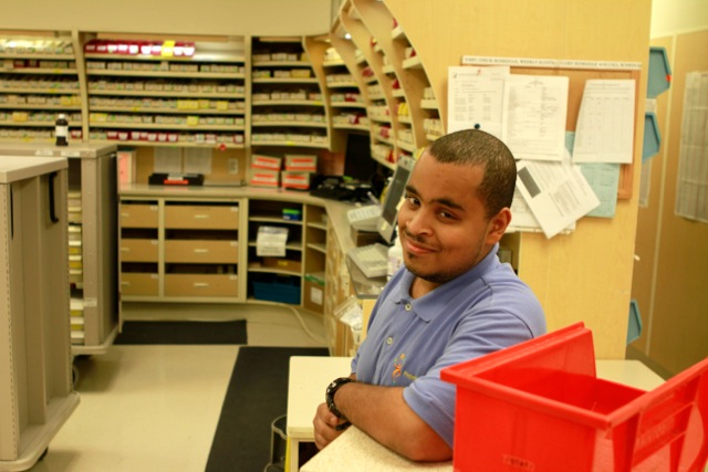 Brent Atwater, a Project SEARCH pharmacy intern at the NIH Clinical Center